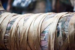 大英博物馆绘了在埃及棺材的场面 免版税库存图片