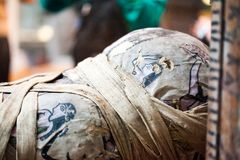 大英博物馆绘了在埃及棺材的场面 免版税库存照片