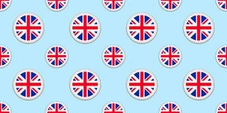 大英国圆的旗子无缝的样式 英国背景 传染媒介圈子象 英国几何标志 纹理f 皇族释放例证