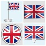 大英国旗子-套贴纸,按钮,标签 库存照片