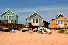 大英国海滩小屋 库存图片