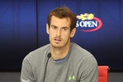 大英国的全垒打冠军安迪・穆雷在新闻招待会期间的在比利・简・金国家网球中心 免版税库存图片