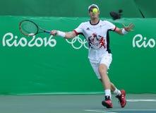 大英国的奥林匹克冠军安迪・穆雷行动的在期间单打运动员里约2016年奥运会的四分之一决赛 免版税库存照片