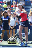 大英国的职业网球球员约翰娜Konta在她的第三次回合美国公开赛2015比赛以后庆祝胜利 免版税图库摄影