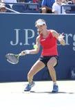 大英国的职业网球球员约翰娜Konta行动的在她的第三次回合美国公开赛2015比赛期间 免版税库存图片