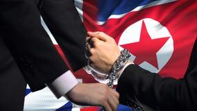 大英国认可北朝鲜被束缚的胳膊,政治或者经济冲突 股票视频
