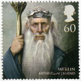 大英国- 2011年:显示默林,亚瑟王的传奇画象  免版税库存照片