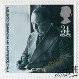 大英国- 1985年:由霍华德Coster显示阿尔弗莱德约瑟夫希区柯克先生画象1899-1980, 免版税库存图片
