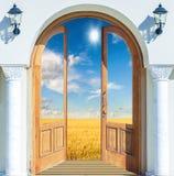 大草原横向和天空 免版税图库摄影