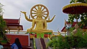 大菩萨雕象在苏梅岛,泰国的一明亮的天 股票录像