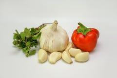 大蒜、在白色背景隔绝的新鲜薄荷和红辣椒 免版税图库摄影