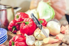 大蒜、红萝卜、红辣椒和刀子在船上说谎 免版税库存图片