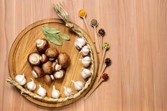 大蒜、蘑菇和香料在木桌上 免版税库存照片
