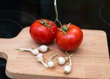 年轻大蒜和夫妇蕃茄 图库摄影