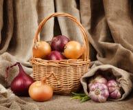 大蒜和葱在篮子 库存图片