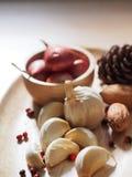大蒜和青葱 免版税库存图片