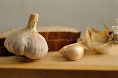 大蒜和面包 免版税库存图片