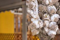 大蒜垂悬在大阳台的干燥捆绑 库存图片