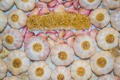 大蒜头、桃红色腹片和根的样式 库存照片
