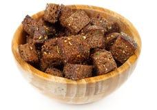 大蒜油煎方型小面包片 免版税图库摄影