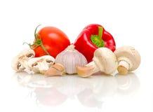 大蒜采蘑菇胡椒蕃茄 库存照片