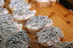 大蒜Angulas婴孩鳗鱼 免版税图库摄影