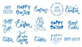 大蓝色复活节集合 汇集愉快的复活节天手写的标志 春天样式 星期天4月假日 o 库存例证