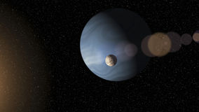 大蓝色天然气业巨头循轨道运行接近红色s的行星和月亮 库存例证