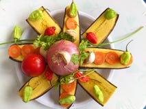 大蕉香蕉和厨房艺术 免版税库存照片