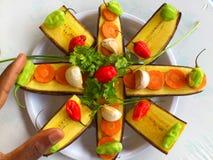 大蕉香蕉和厨房艺术 免版税库存图片