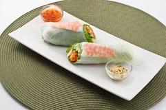 大虾卷沙拉寿司 库存照片