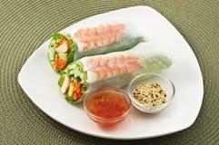 大虾卷沙拉寿司 免版税库存图片