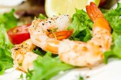 大虾和沙拉 免版税库存图片