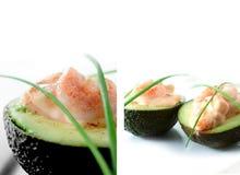 大虾和鲕梨开胃菜 免版税图库摄影