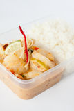 泰国拿走食物,大虾柠檬调味汁用米 免版税库存照片