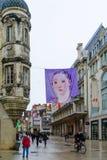 大街rue de la liberte场面在第茂 库存照片