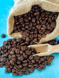 大袋与木瓢的烤咖啡豆 图库摄影