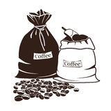 大袋咖啡和咖啡豆 向量例证