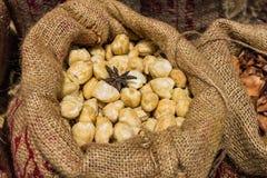 大袋在木背景的干泰国豆蔻果实 免版税库存图片