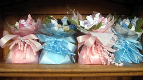 大袋或袋子甜点 孩子的礼物 库存图片