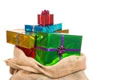 大袋有礼物的圣尼古拉斯 库存图片