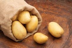 大袋未加工的土豆 免版税库存照片