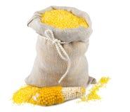 大袋玉米面粉 免版税库存照片