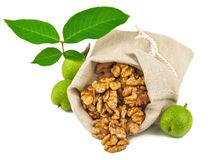 大袋被净化的核桃和绿色核桃果子 库存图片