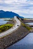 大西洋摩托车的路两骑自行车的人 库存照片