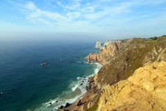大西洋海岸,从海角罗卡,葡萄牙的看法 库存图片