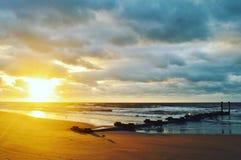 大西洋城海滩日出 库存图片