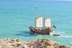 大西洋顶视图 旅行小船 免版税库存照片