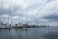 大西洋高地自治都市小游艇船坞 库存图片
