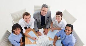 大角度企业小组 免版税库存照片